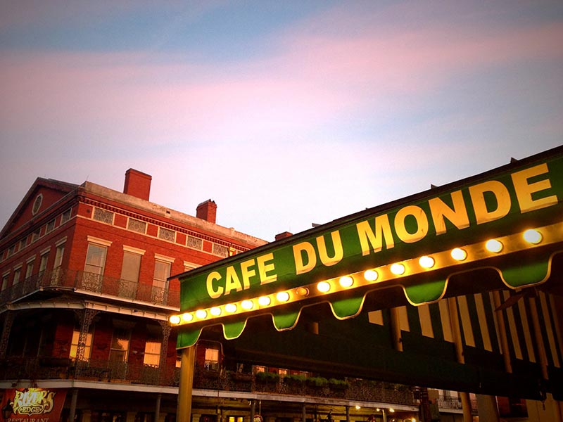 Cafe Du Monde restaurant in the French Quarter.