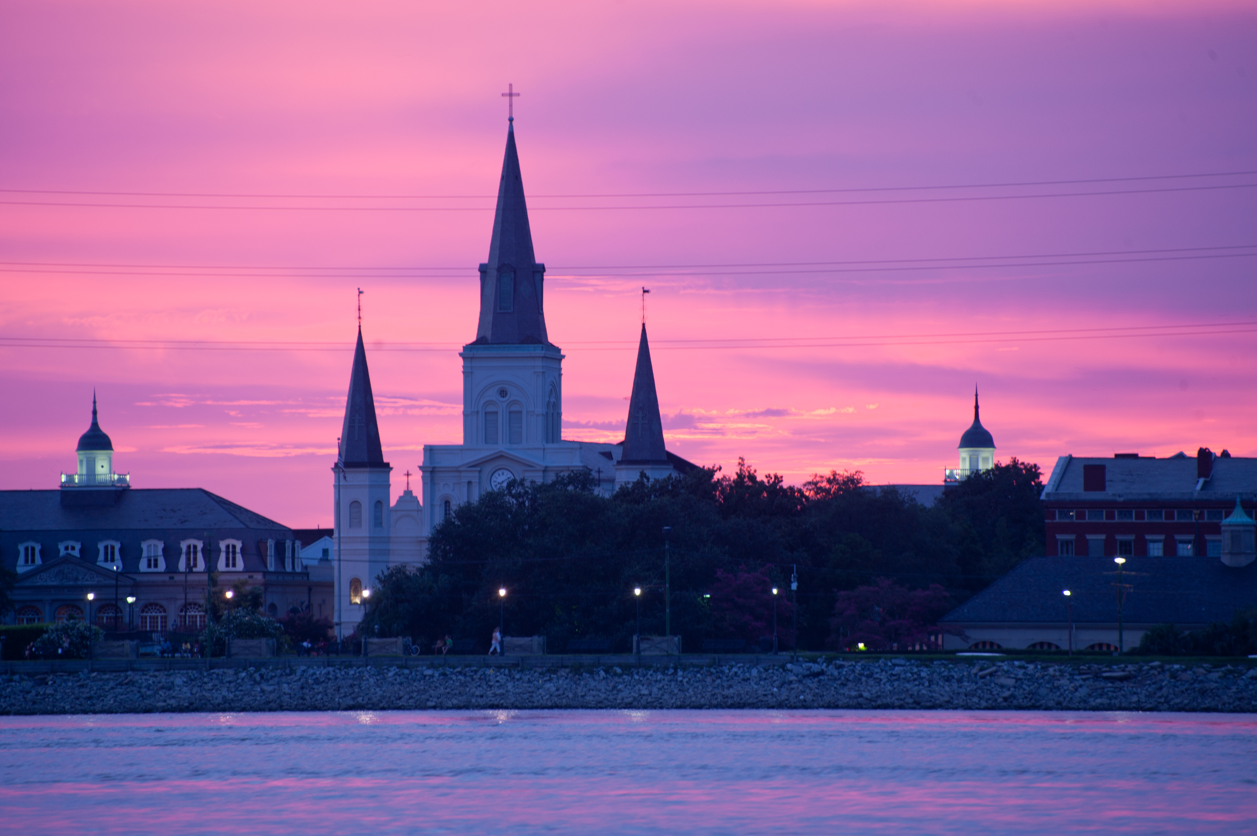 The sunsets in New Orleans are extraordinary over the Mississippi River