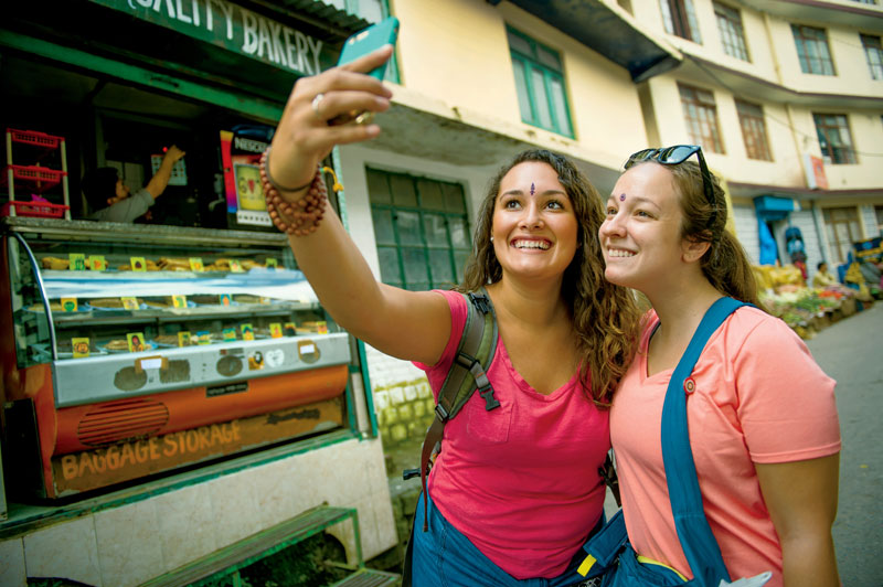 Two girls take a selfie during their study abroad trip.