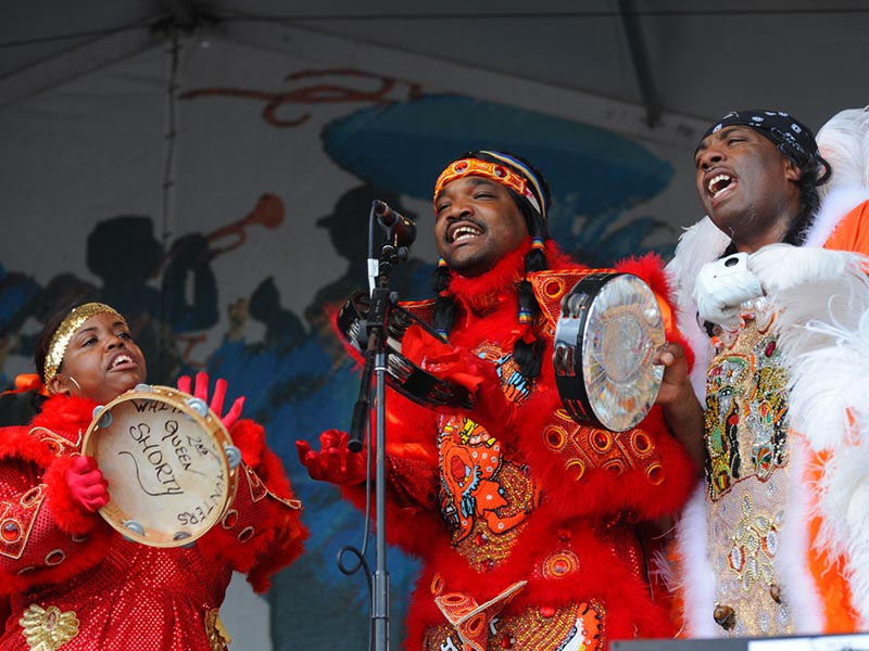 White Cloud Hunters Mardi Gras Indians on the Jazz & Heritage Stage at Jazz Fest