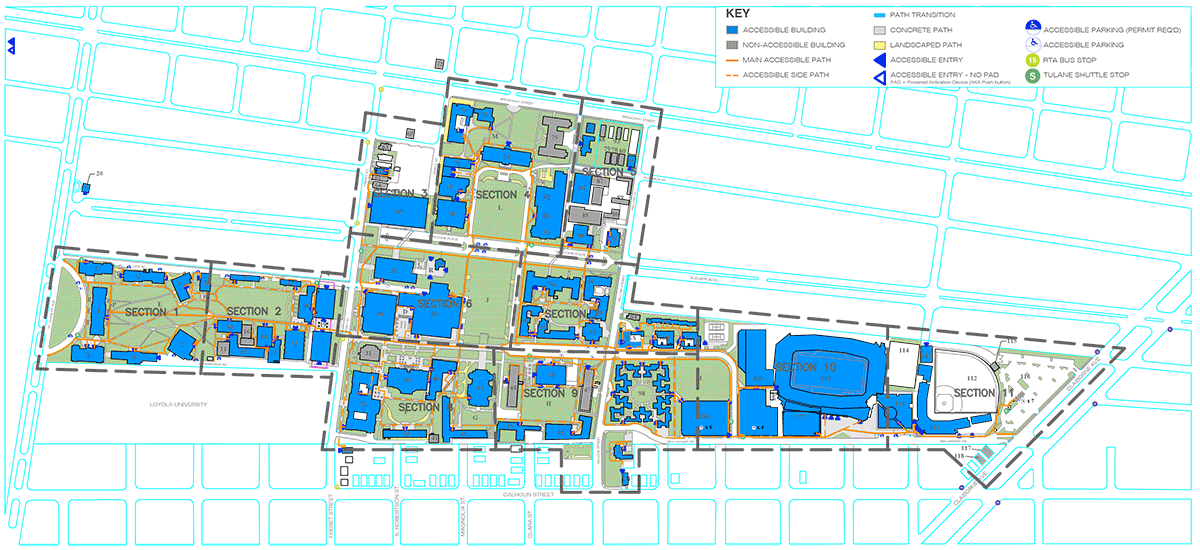 Uptown Campus Accessibility Map | Tulane University