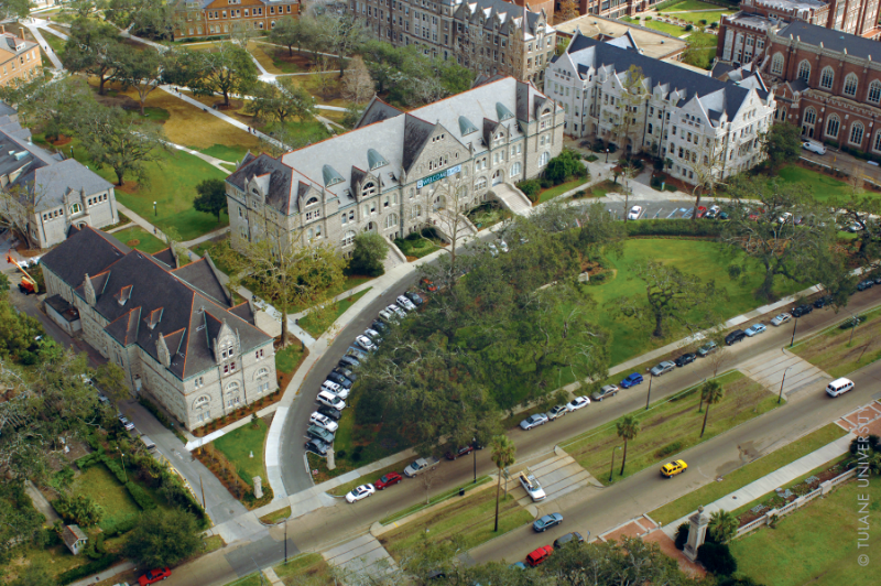Aerial view of Gibson Hall