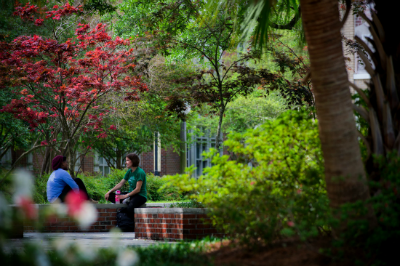 A pair of students converses in a pretty spot on campus.