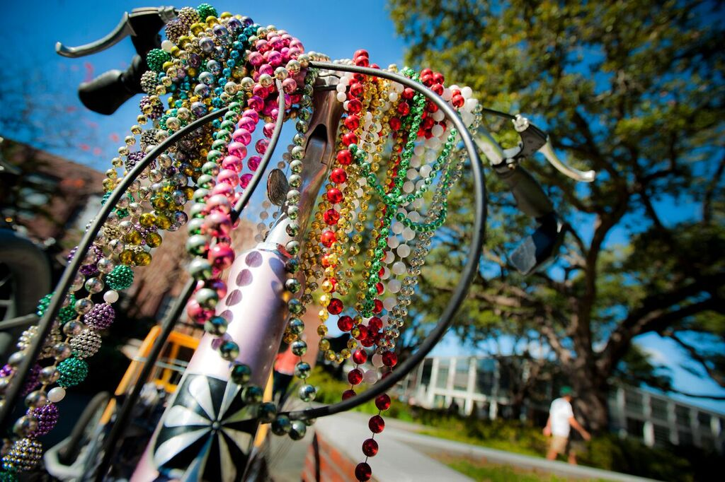 Beads decorate a bike on campus