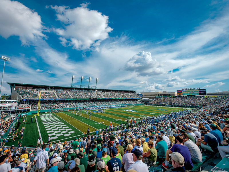 A crowd fills the stands in Yulman Stadium