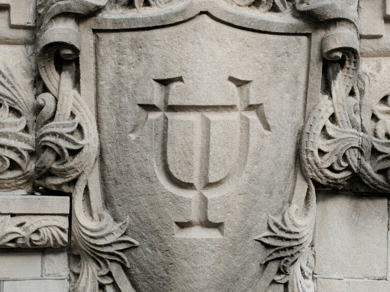 Tulane shield carved in stone
