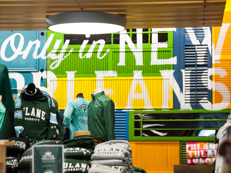 Tulane merchandise in the bookstore