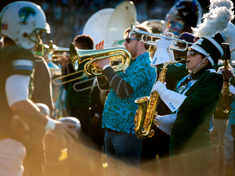 Alumni join the Tulane Marching Band to perform at Homecoming
