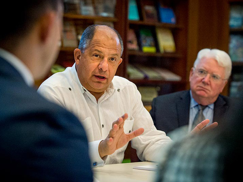 Costa Rican President and Tulane University alumnus Luis Guillermo Solís, center, spoke to students about his journey from academics to public service