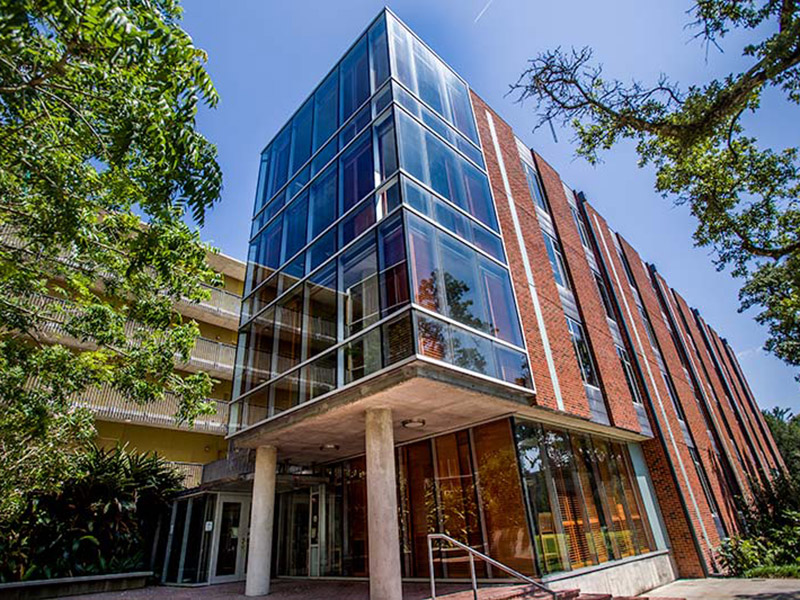 First-year Tulane student John Alexander won the Office of Sustainability's student-proposed sustainability contest with his idea to install motion-sensor lights in residential halls. Wall Residential College, pictured, on the uptown campus was one of two