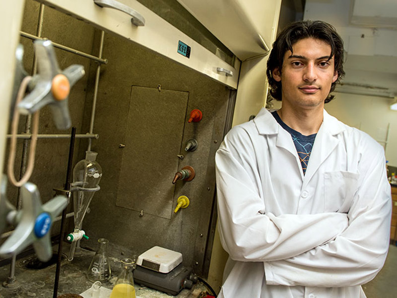 Thanks to a Summer Honors Research grant, Izzat Shbeeb, a senior in the School of Science and Engineering, studied novel polymers in a chemistry lab.