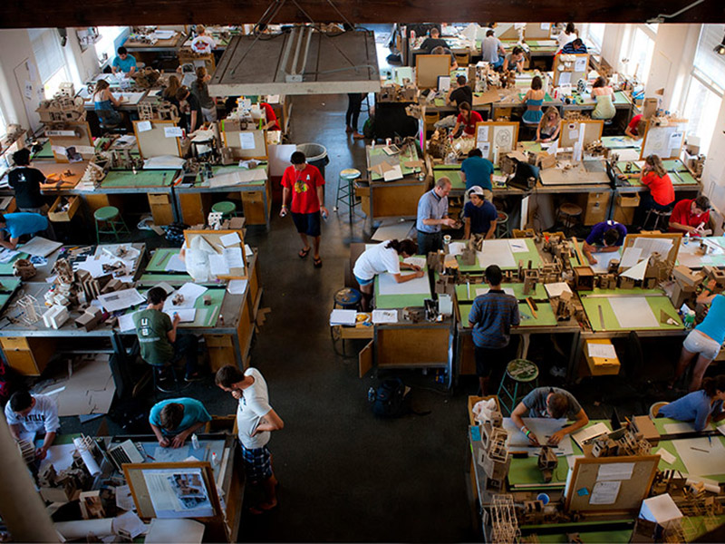 Students keep busy in the architecture studio located in the Richardson Memorial building on the uptown campus.