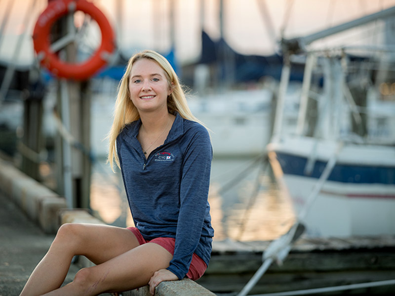 Miia Newman, who is pursuing a master's degree in public health administration at Tulane University, is the 2017 recipient of the International Lightning Class Association Lightning Boat Grant for sailing.