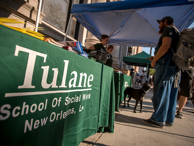 Elk Place Health Spot, a monthly event staged by Tulane School of Social Work and the city of New Orleans, brings together health screenings and health-related information for passers-by at the busy intersection of Canal Street and Elk Place.