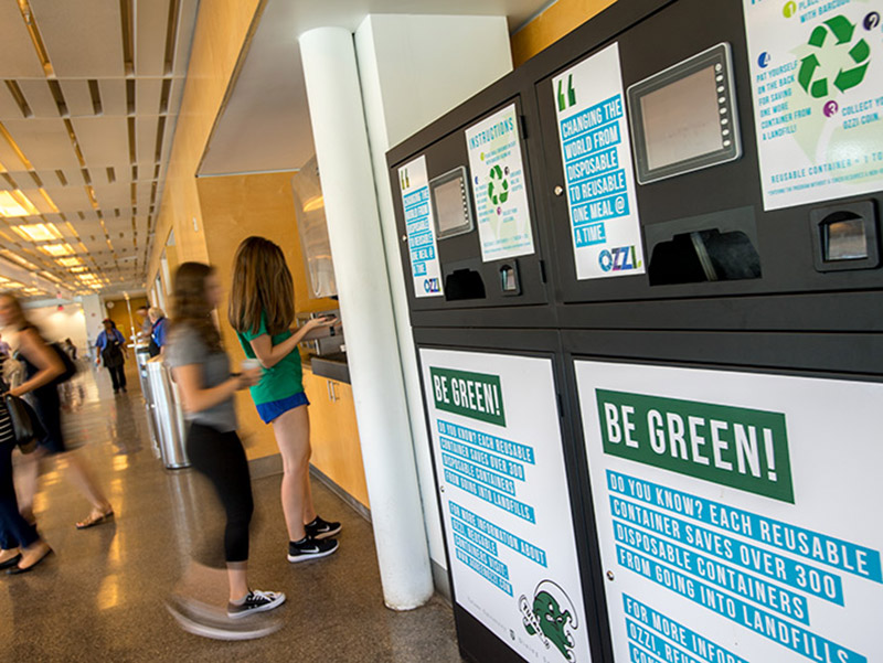 This week, Dining Services introduced the OZZI reusable container program — an initiative to reduce waste caused by disposable food containers — to Al Fuego, Wall of Greens and Zatarain's in the Lavin-Bernick Center Food Court.