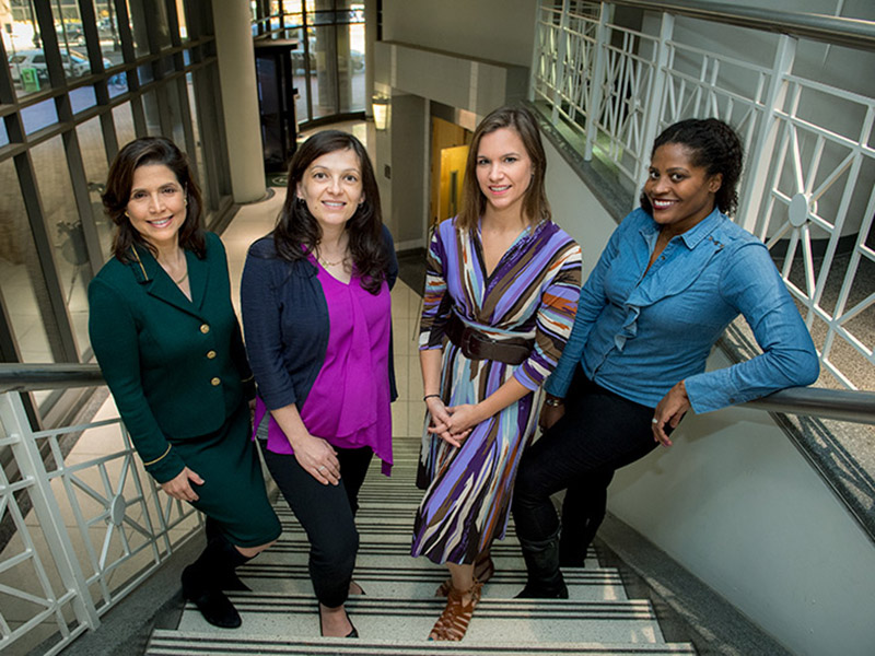 "BIRCWH principal investigator and research director Dr. Marie ""Tonette"" Krousel-Wood (left) with BIRCWH scholars Dr. Dragana Lovre, Catherine Burnette and Jylana Sheats."