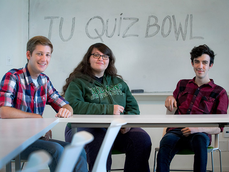 Members of the Tulane Quiz Bowl team (from left) Andrew Cerise, Brianna Tucker and Dominic Lloyd say they enjoy the camaraderie of competition most.