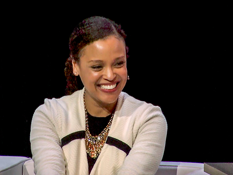 """During The Big Reveal of Tulane University's """"Only the Audacious"""" campaign, Tulane professor of English Jesmyn Ward is led in a game of word association by English Department Chair Michael Kuczynski."""