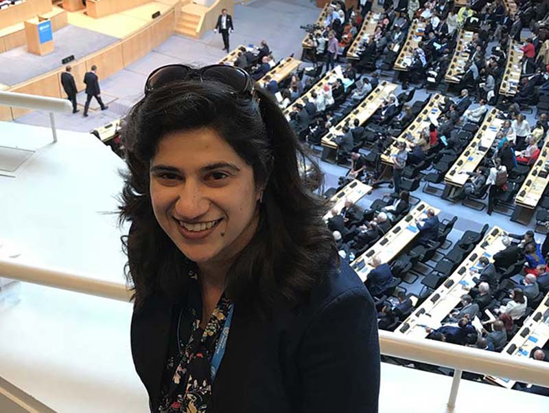 Mehr Manzoor, a Tulane doctoral student and Fulbright scholar, is looking into why women have fewer leadership roles, and working to correct the imbalance. She is pictured here at the World Health Assembly in Geneva earlier this year.
