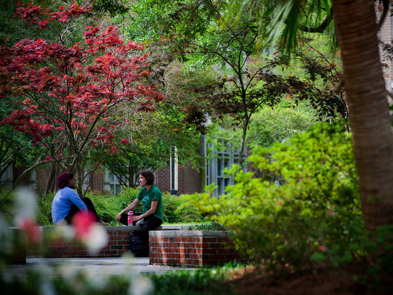 Two young women talk on a bench under brightly colored trees and new spring growth.