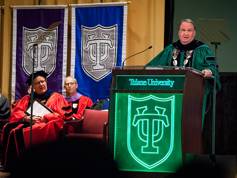 President Fitts stands at the podium to deliver his 2016 Convocation speech