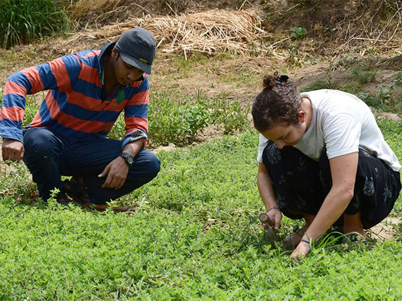 Tulane senior Liat Perlin, right, plants seeds on a farm in India