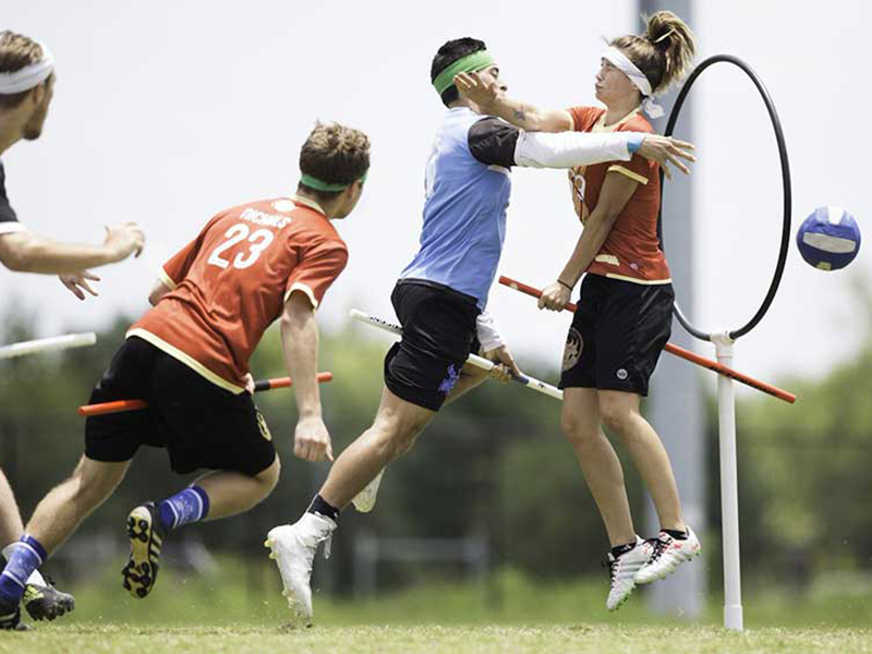 Quidditch is a ball game inspired by the Harry Potter fantasy series by J.K. Rowling