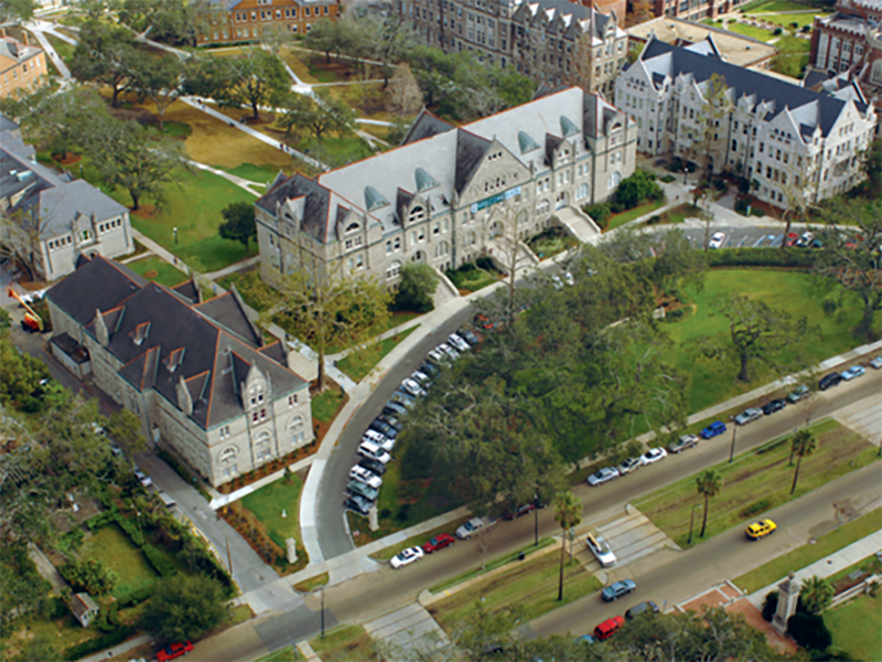 An aerial shot of the front of Tulane campus.