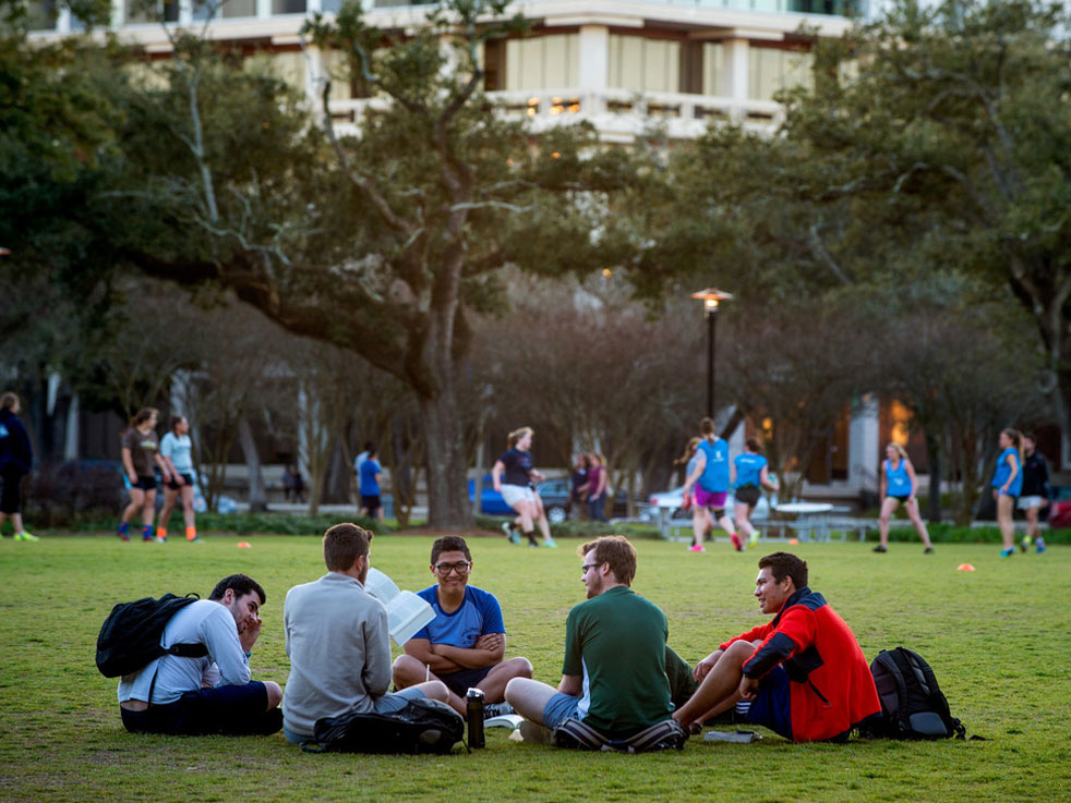 Students gather on the quad